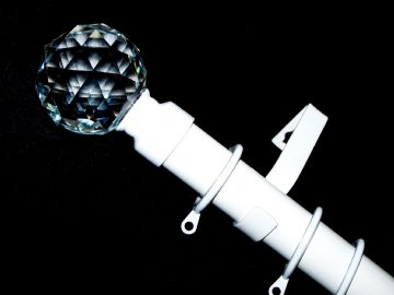 28mm White Curtain Pole with Cut Glass Crystal Ball Finials 3.6m 4.5m 4.8m 6m